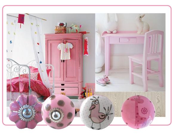 bouton de meubles rose, bouton de meuble enfant