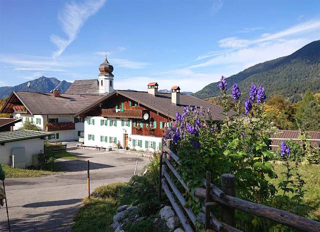 Schwaigen, Kirche, Berge in Wamberg mit blauen Blumenranken im Vordergrund