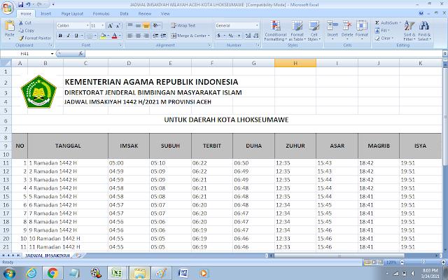 Jadwal Imsakiyah Ramadhan 1442 H Kota Lhokseumawe, Provinsi Aceh
