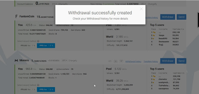Withdraw monero success