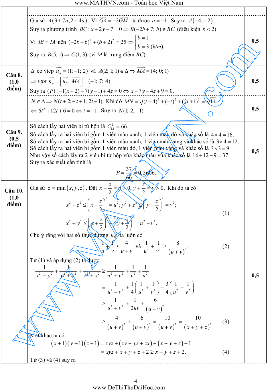 đáp án đề thi thử toán lần 2 chuyên đh vinh 2015