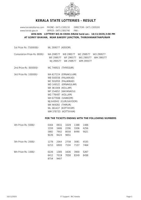 WIN WIN, Win Win Lottery Results, LIVE-Lottery Result,Kerala Lottery Result 16.11.2020 Win Win Lottery Results W 590,w-590-live-win-win-lottery-result