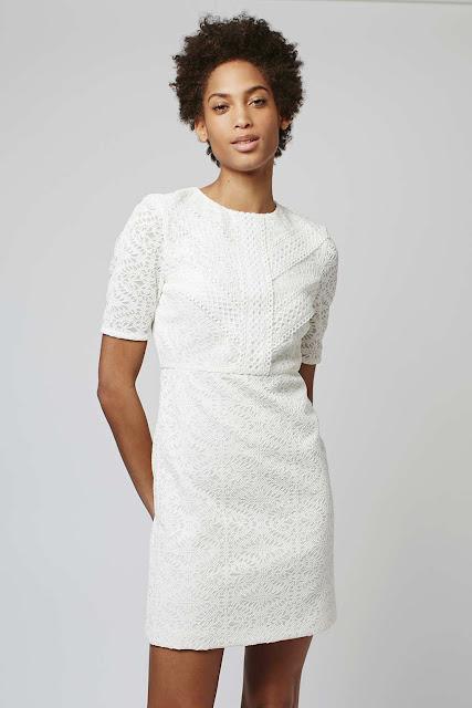 topshop white pattern dress, white crochet dress,