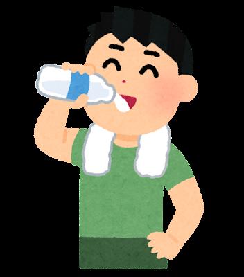 お風呂上がりに牛乳を飲む人のイラスト(男性)