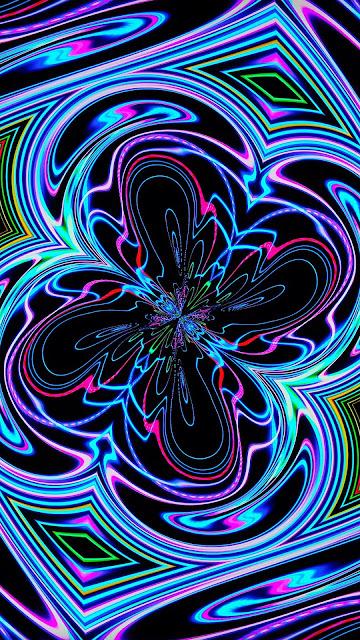 Abstract wallpaper HD, neon, fractal, waves