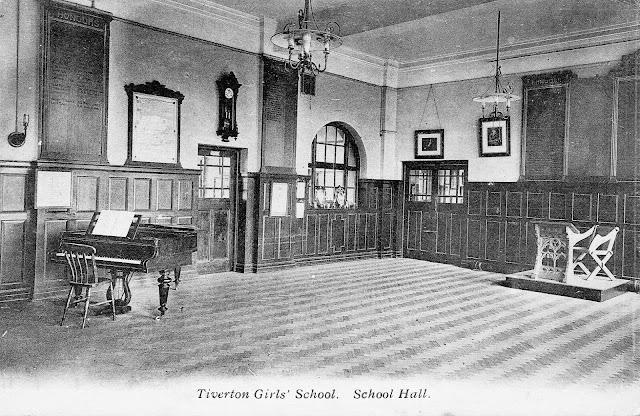 Postcard of Tiverton Girls' School Hall c.1912