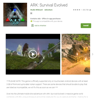 This the image of Ark: Survival Evolved took from the play store web version