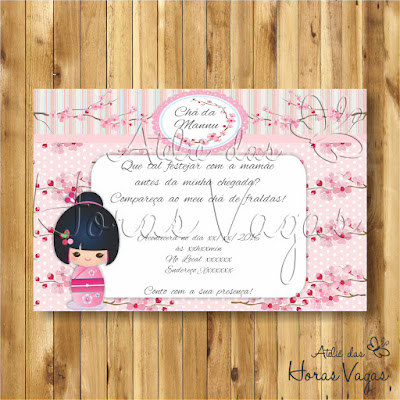 convite digital aniversário infantil personalizado artesanal boneca japonesa kokeshi flor de cerejeira sakura japão chá de bebê fraldas menina delicado festa rosa