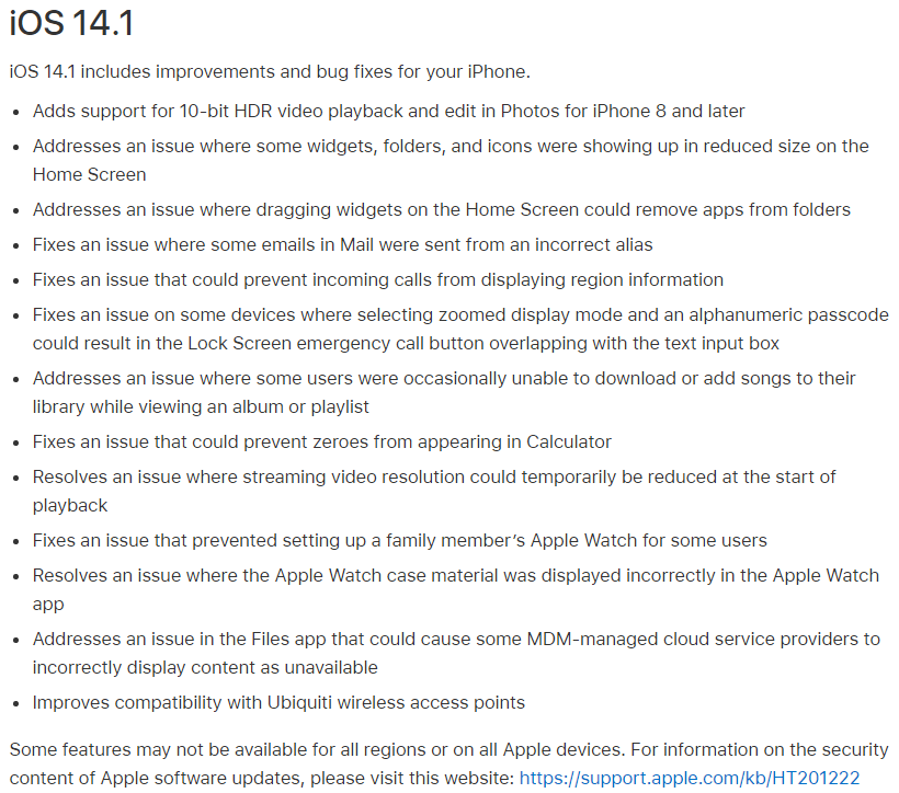 iOS 14.1 Features Changelog
