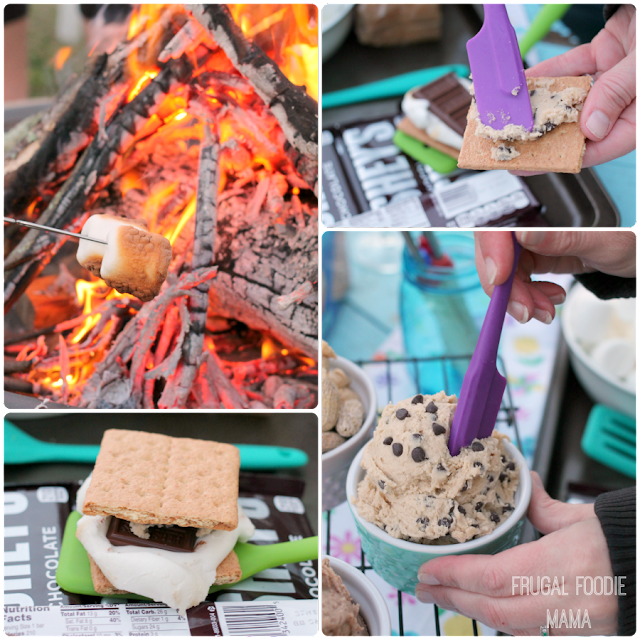 Change up those usual s'mores and offer your guests a fun and fuss-free Cookie Dough S'mores Bar instead- 3 edible, egg-free cookie dough spreads & a fun cookie baking inspired display. #LetsMakeSmores #ad