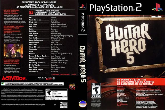Descargar Guitar Hero 5 ps2 iso NTSC-PAL. Es la quinta edición de las series de videojuegos Guitar Hero, en la cual se pueden encontrar 85 temas nuevos de 83 artistas. Fue lanzado el 1 de septiembre de 2009 en Norteamérica, el 18 de septiembre de 2009 en Europa y el 16 de septiembre de 2009 en Australia y Asia.