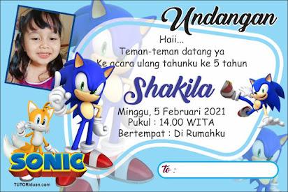Desain Undangan Ultah Kartun Sonic CDR
