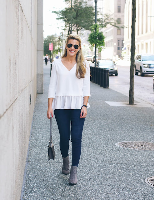 neutral outfit featuring talbots skinny jegging jeans