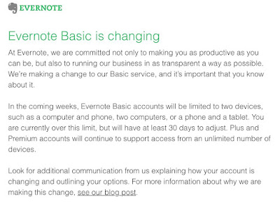 Evernote Raises Costs, gadget confinements for Essential bundle Cuts Elements Of Free Form with two-gadget limit