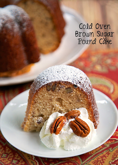 Cold Oven Brown Sugar Pound Cake Recipe - amazing pound cake packed full of brown sugar and pecans! This cake is placed in a cold oven and baked while it preheats. No waiting on the oven to preheat! Tastes SO good!