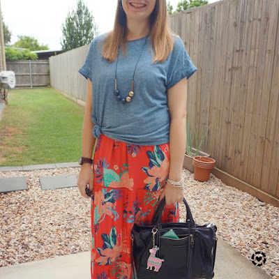 awayfromtheblue Instagram | blue tee knotted over kmart tiered floral maxi dress navy rebecca minkoff regan tote