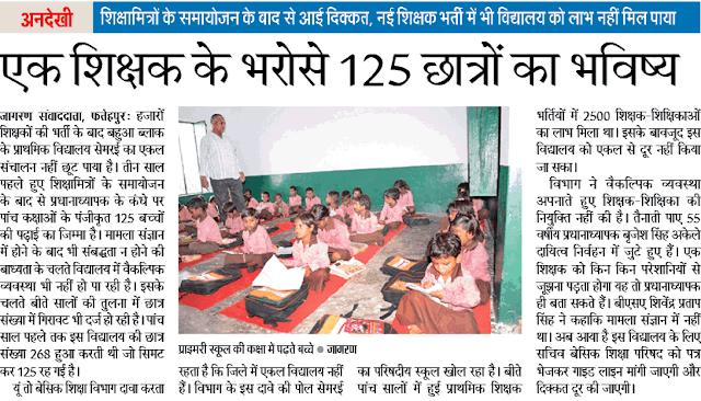 एक शिक्षक के भरोसे 125 छात्रों