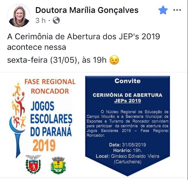 Roncador: Prefeita convida para Abertura dos JEP's, mas não participará!