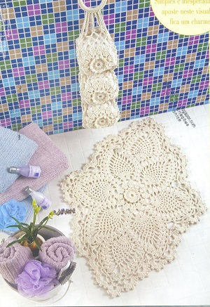 Jogo de banheiro - tapete da pia em crochê com gráfico