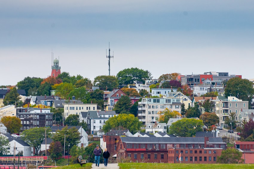 Portland, Maine USA October 2019 photo by Corey Templeton. A stroll around Bug Light Park with Munjoy Hill in the near distance. The compression is from using a 70-300mm lens all zoomed in. It's one of my favorite lenses because of the interesting perspectives you can find.
