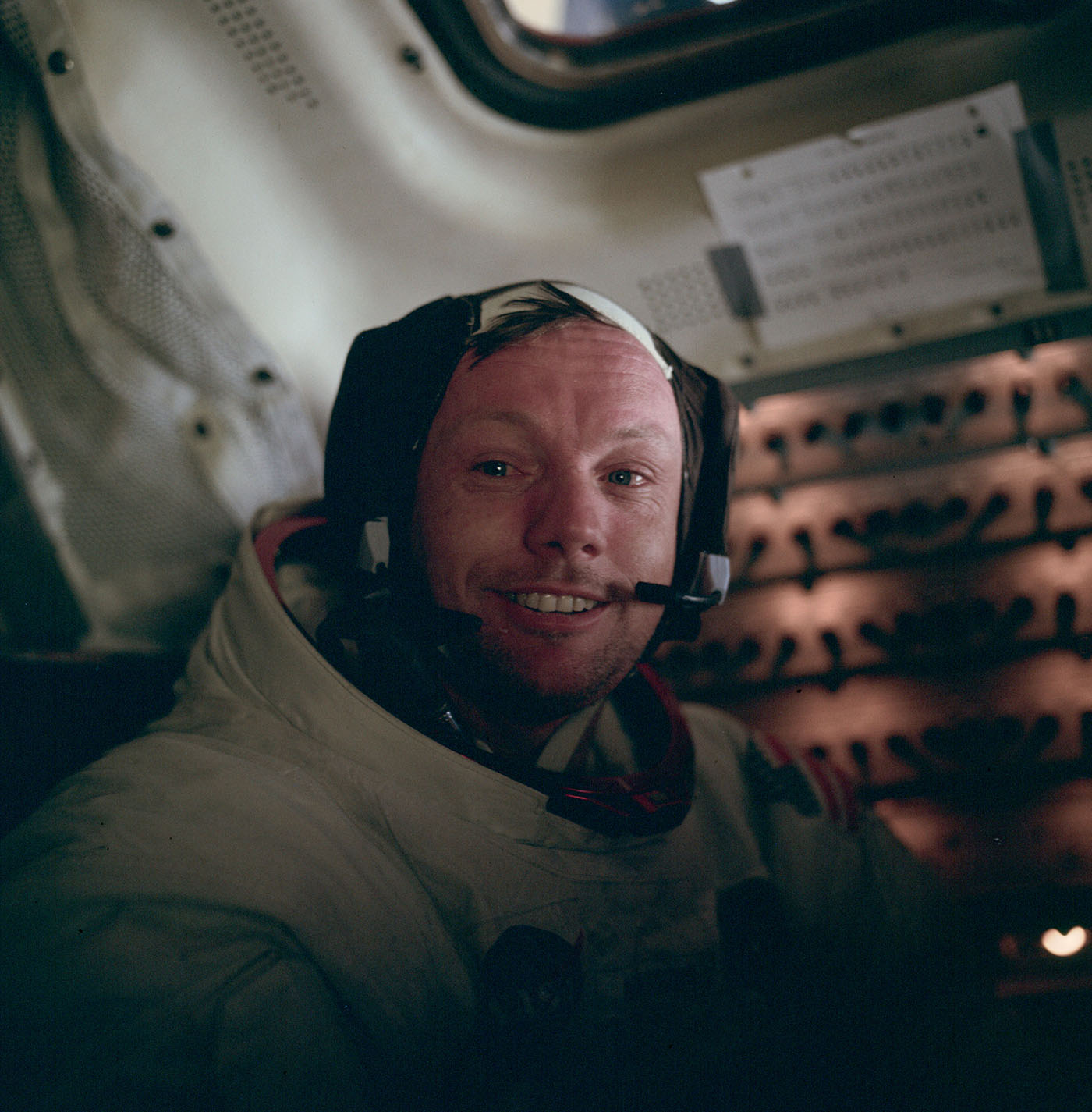 Neil Armstrong immediately after his, and mankind's, very first moon walk, 1969.