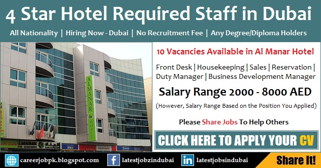 4 Star Hotel Jobs in Dubai - Find Careers in Hotel