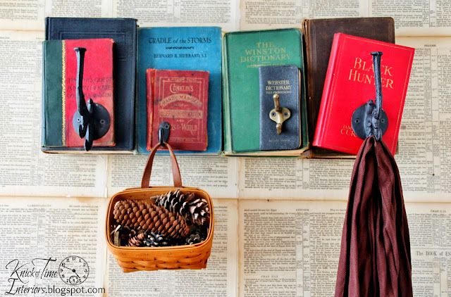 Repurposed  Books Coat Rack with full tutorial at Knick of Time - KnickofTime.net