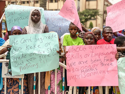 (Photos) Lagos Beggars Protests Against Harrassment, Block Offices