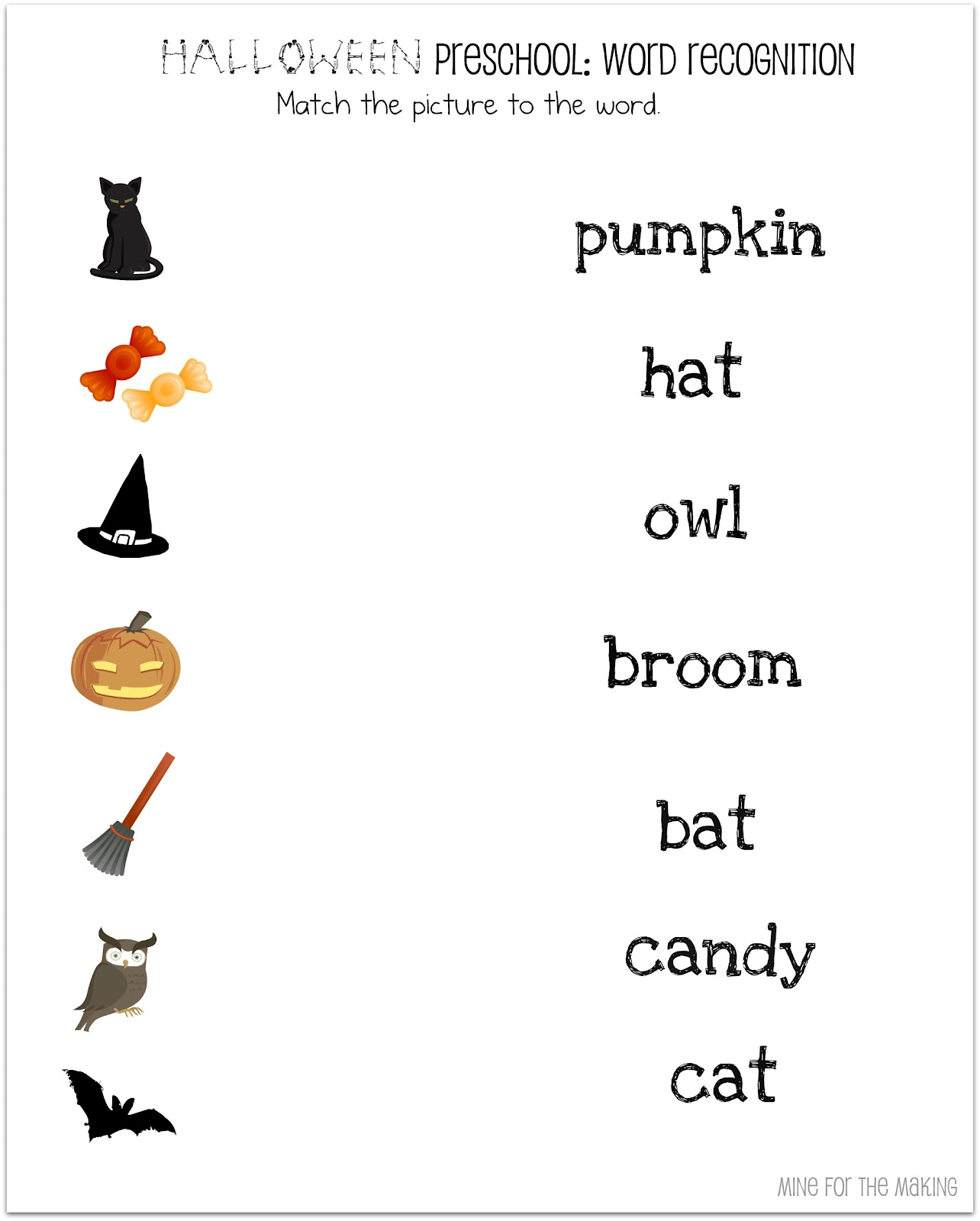 Halloween Matching Worksheets