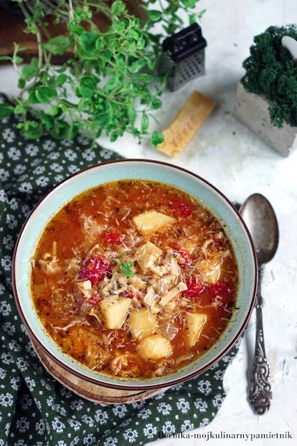 zupa, obiad, miniestrone, kapusta mloda, kapusta, bernika, ziemniaki, kulinarny pamietnik