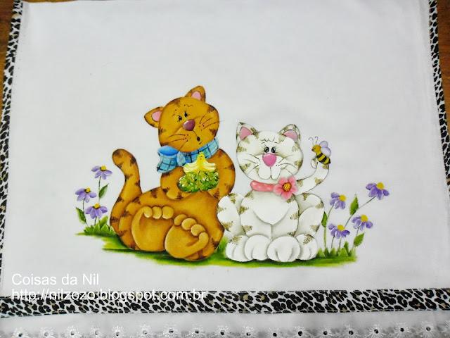 pintura casal de gatinhos estilo country