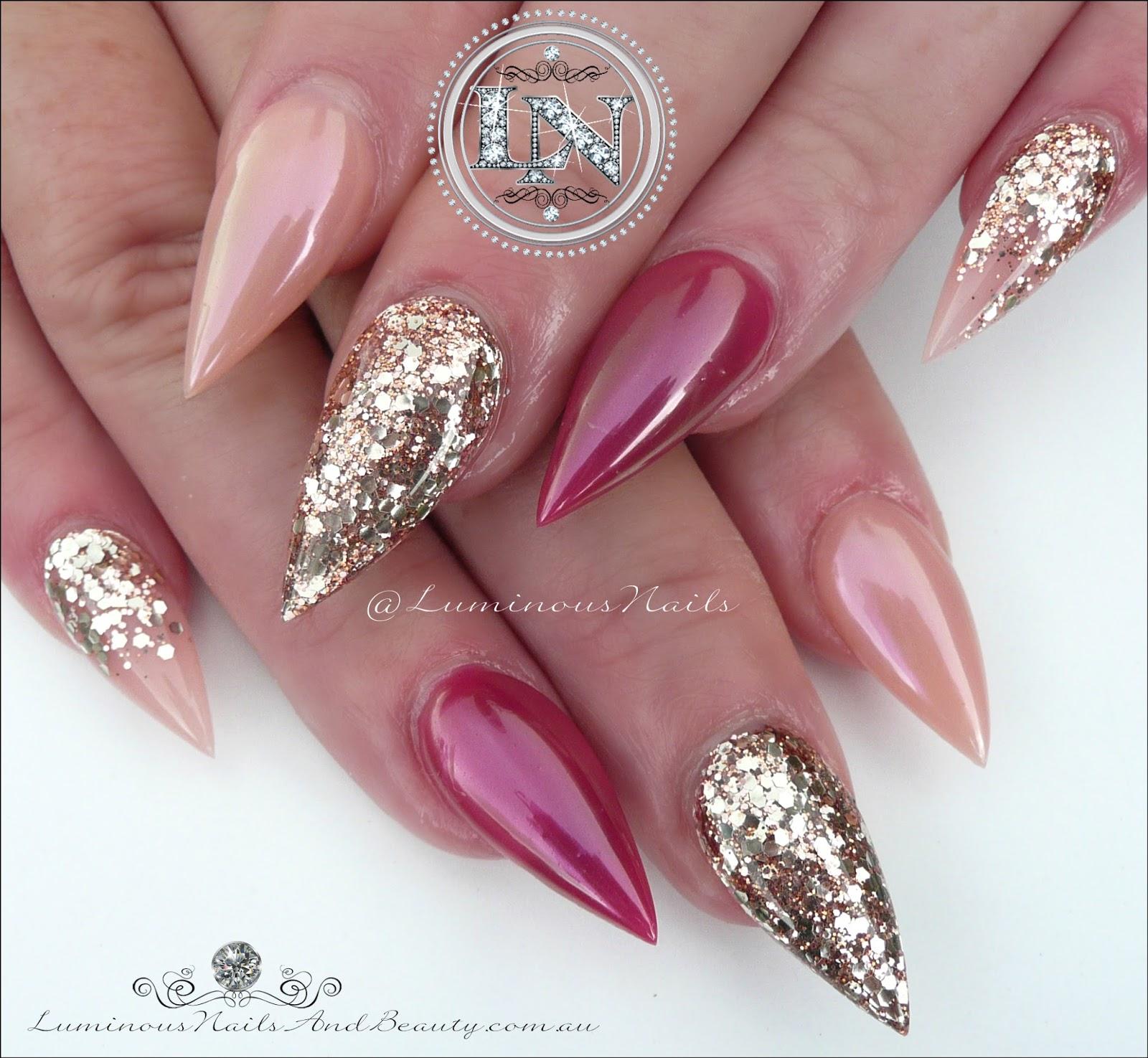 Stunning Pink Glittery Gold Chrome Acrylic Nails
