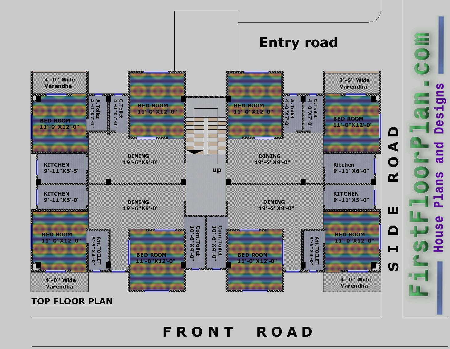 4500 square foot building plan, Top Floor Plan