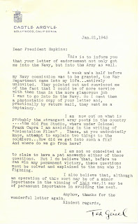 Signed letter from Ted Geisel to President Hopkins