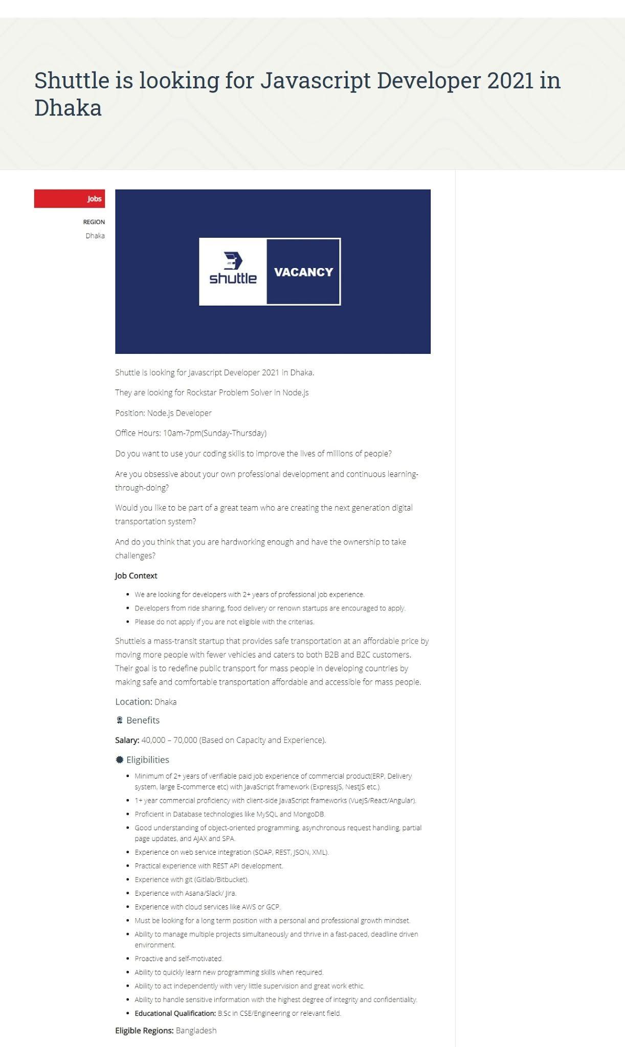 Shuttle is hiring Javascript Developer in Dhaka 2021
