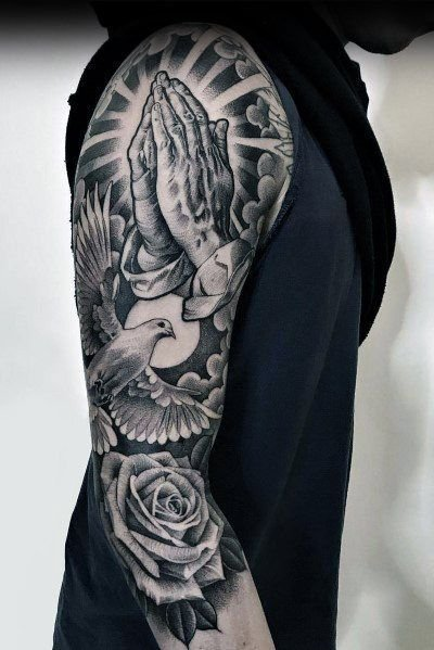 Dove + Rose Tattoo on Arm