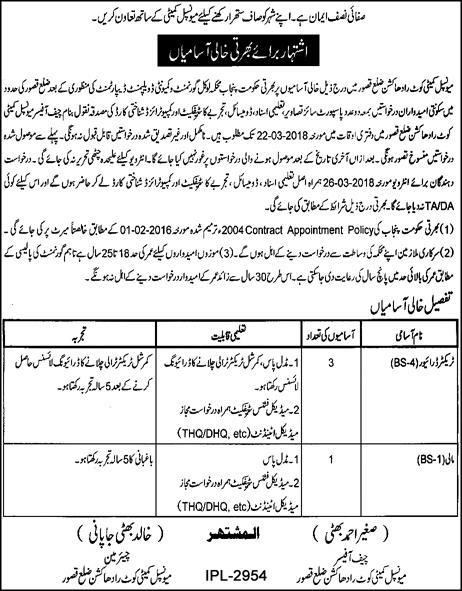 Municipal Committee Kasur Today Fresh Jobs for Mali, Drivers