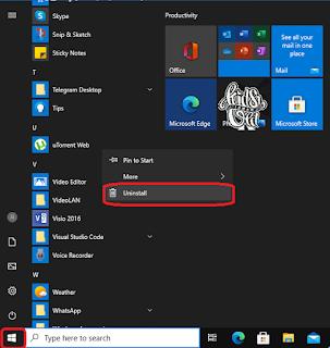 cara hapus aplikasi melalui menu start
