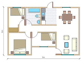 plano Casa Paine 54 metros cuadrados