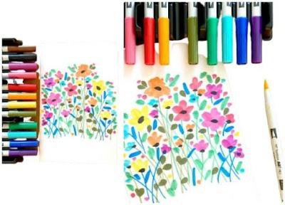 Dibujar garabatos de flores y hojas antiestrés