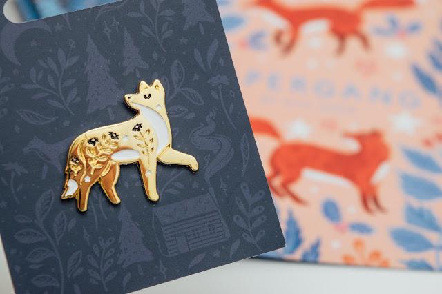 Gold enamel fox pin