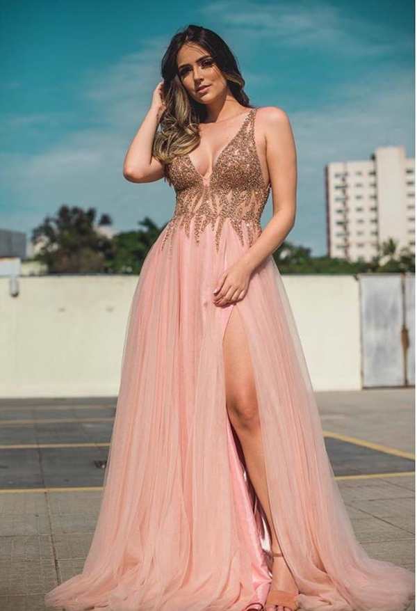 vestido rose gold festa
