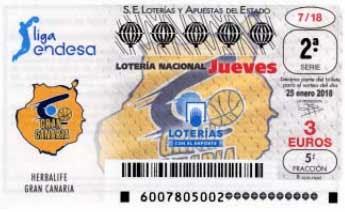 decimos de loteria nacional del  jueves 18 de enero dedicados al Herbalife Gran Canaria