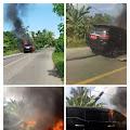 Viral...! Mobil Plat Merah Terbakar Di Tengah Jalan