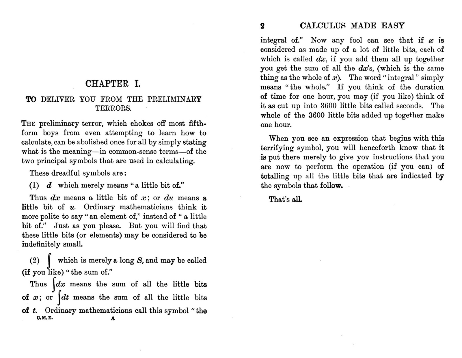 Data Deluge Calculus Made Easy 1914