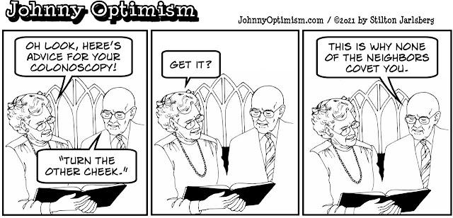 johnny optimism, medical, humor, sick, jokes, boy, wheelchair, doctors, hospital, stilton jarlsberg, seniors, church couple, colonoscopy, turn the other cheek