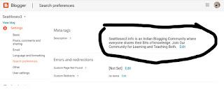 Meta Tag Description  SEO Setting in Blogger