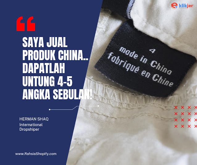 Jual produk China dapat Untung 4-5 angka sebulan