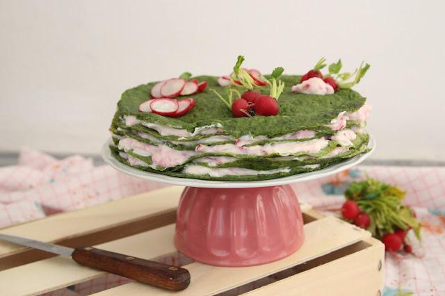 Gâteau de crêpes salé printanier (vegan)