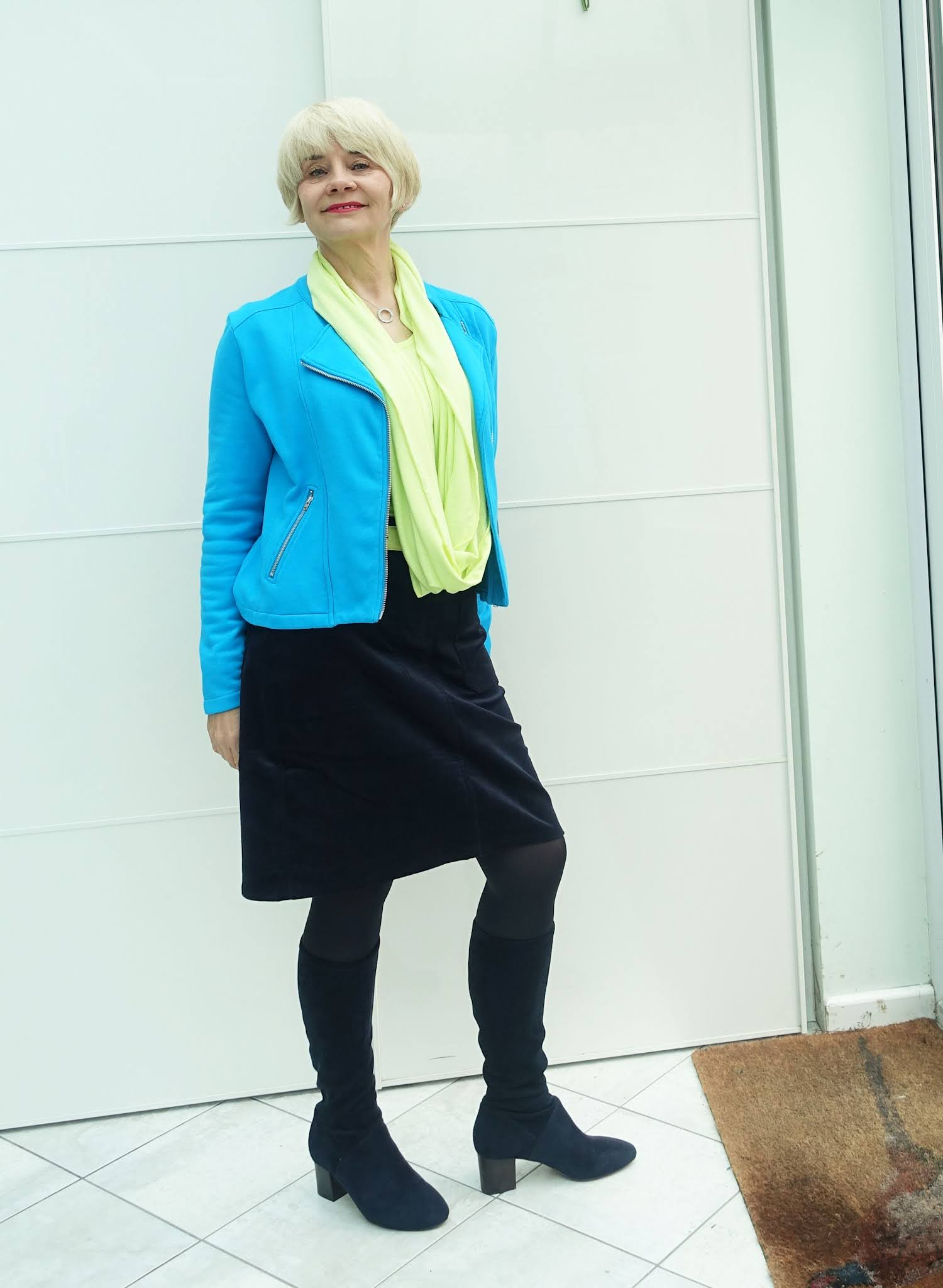 Gail Hanlon from Is This Mutton-the over-50s style blog-in Chloe jacket, v neck top, infinity scarf and belt by Kettlewell and Cavendish skirt by Boden